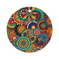 Funky Retro Pattern Ornament (Round)