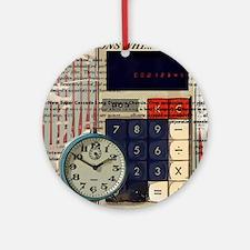 vintage scripts retro clock  Round Ornament