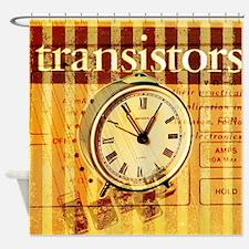 vintage scripts retro clock  Shower Curtain