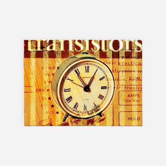 vintage scripts retro clock 5'x7'Area Rug