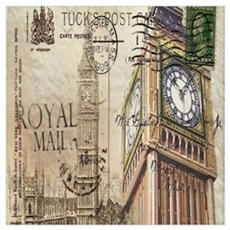 vintage london big ben Canvas Art