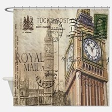 vintage london big ben Shower Curtain