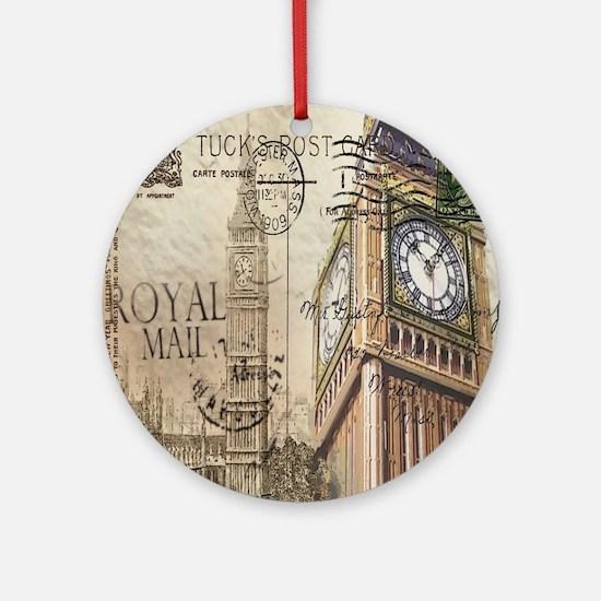 vintage london big ben Round Ornament