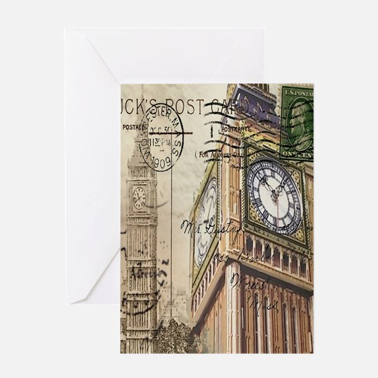 vintage london big ben Greeting Cards