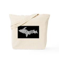 Michigan's Upper Peninsula white-on-black Tote Bag