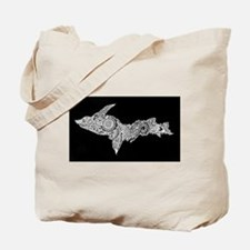Michigan's Upper Peninsula white-on-black Tote Bag
