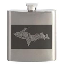 Michigan's Upper Peninsula white-on-black Flask