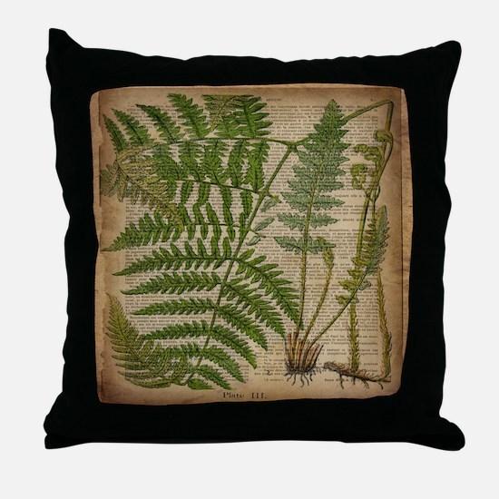 botanical fern leaves Throw Pillow