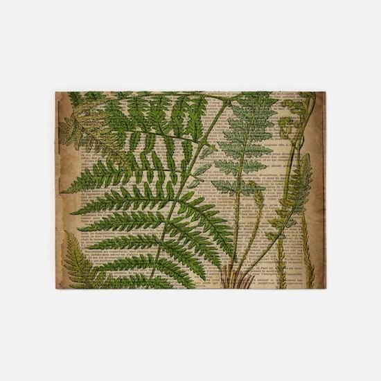 botanical fern leaves 5'x7'Area Rug