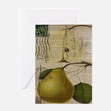 botanical vintage pear Greeting Cards