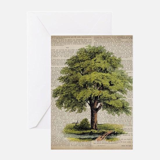 vintage oak tree Greeting Cards