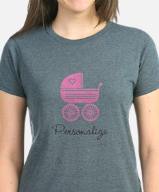 Personalized Baby Carriage T-Shirt For New Mom