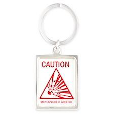 Caution Portrait Keychain