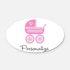 Personalized baby carriage Oval Car Magnet
