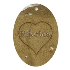 Nikolas Beach Love Ornament (Oval)