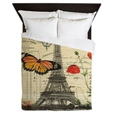 poppy butterfly eiffel tower Queen Duvet