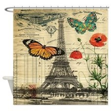 poppy butterfly eiffel tower Shower Curtain