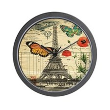 poppy butterfly eiffel tower Wall Clock