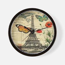 poppy butterfly eiffel tower Wall Clock