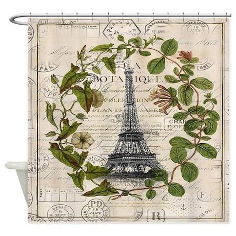botanical leaves eiffel tower shower curtain