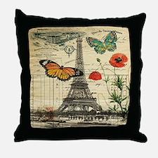 poppy butterfly eiffel tower Throw Pillow