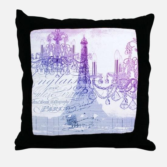 purple chandelier paris eiffel tower Throw Pillow