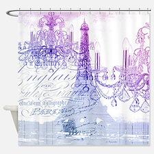 purple chandelier paris eiffel towe Shower Curtain
