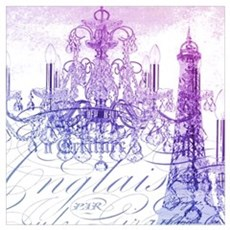 purple chandelier paris eiffel tower Framed Print
