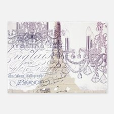 champagne chandelier eiffel tower 5'x7'Area Rug