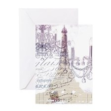 champagne chandelier eiffel tower Greeting Cards