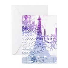 purple chandelier paris eiffel towe Greeting Cards