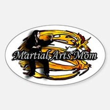 Martial Arts Mom Gold Dragon Oval Decal