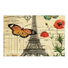 poppy butterfly eiffel to Postcards (Package of 8)