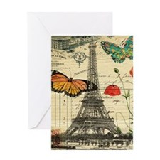poppy butterfly eiffel tower Greeting Cards