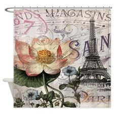 lotus flower eiffel tower Shower Curtain