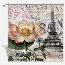 lotus flower eiffel tower Shower Curtain