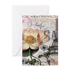 lotus flower eiffel tower Greeting Cards