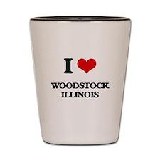 I love Woodstock Illinois Shot Glass