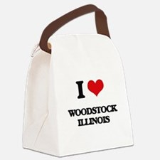 I love Woodstock Illinois Canvas Lunch Bag