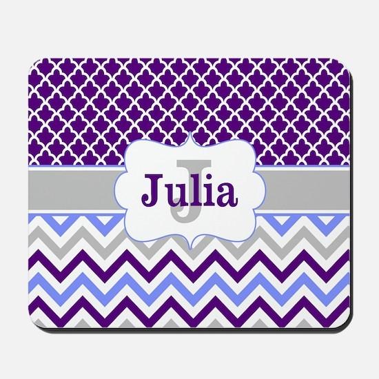 Purple Quatrefoil Chevron Personalized Mousepad