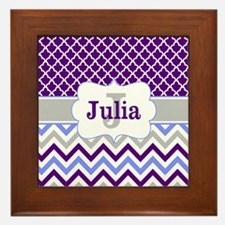Purple Quatrefoil Chevron Personalized Framed Tile