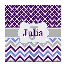 Purple Quatrefoil Chevron Personalized Tile Coaste