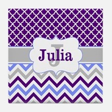 Purple Quatrefoil Chevron Personalized Tile Coaste