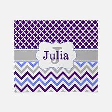 Purple Quatrefoil Chevron Personalized Throw Blank