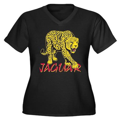 Jaguar Women's Plus Size V-Neck Dark T-Shirt