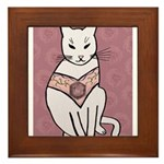 Rose Cat Framed Tile