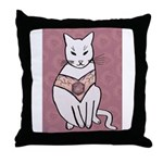 Rose Cat Throw Pillow