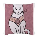 Rose Cat Woven Throw Pillow