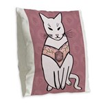 Rose Cat Burlap Throw Pillow