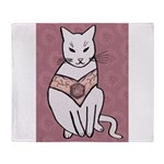 Rose Cat Throw Blanket